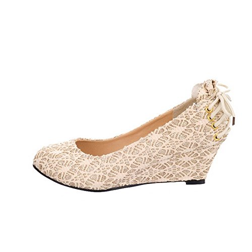 AmoonyFashion Womens Solid Glitter Kitten-Heels Round-Toe Pumps-Shoes Gold 69Oek