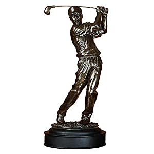 Deco 79 Poly-Stone Male Golfer, 16 by 7-Inch