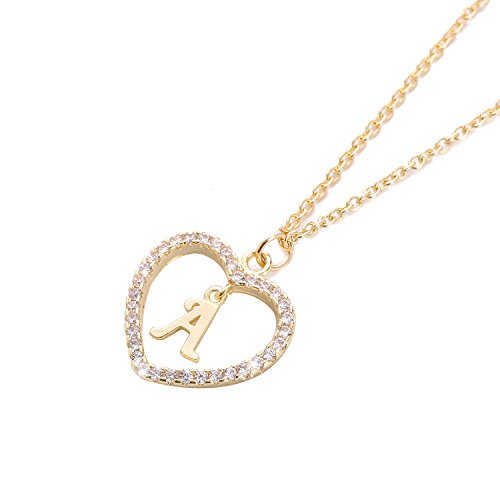 HolyFast Charm Necklace Message Card One in A Million Letter A Necklace Initial Necklace Heart Love Necklace CZ Cubic Zirconia Pendant Love Necklace Woman Jewelry (Letter Charm Initial Heart)