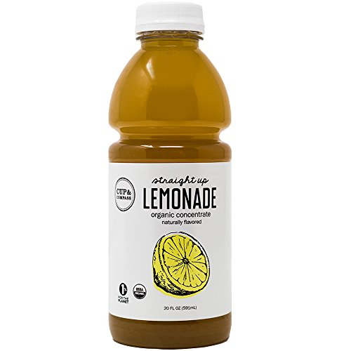 Organic Lemonade Concentrate By Cup & Compass - No Sugar, Zero Calories, Unsweetened, Liquid, Naturally flavored. Perfect for Ice lemonade - 20 Oz. bottle (Yields 1 Gallon of Lemonade)