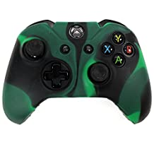 HDE Xbox One Controller Skin Protective Silicone Gel Rubber Grip Cover for Wireless Gaming Controllers (Marble Black/Green)