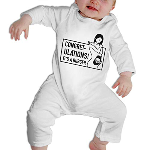 SARA NELL Congretulations It's A Burger Pregnant Baby Long Sleeve Bodysuit Boys & Girls Romper Jumpsuit Onesies