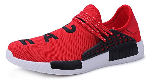 JiYe Men's Running Shoes Women's Free Transform Flyknit Fashion Sneakers,Red,41 EU=8US-Men/9.5US-Women (Technology Red Race)