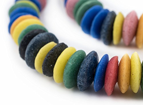 Ashanti Fair Trade Glass Saucer Beads - African Tribal Ethnic Disk Rondelle Spacers - The Bead Chest (Rainbow ()