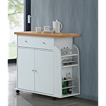 Hodedah HIK65 WHITE Import Kitchen Island with Spice and Towel Rack, White