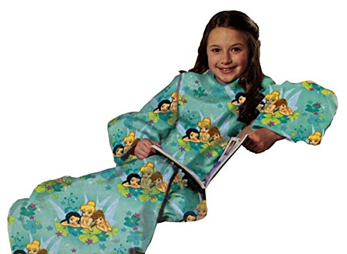 Disney Fairies Flower Party Blanket/SLEEVES Comfy Throw YOUTH