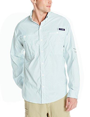 Columbia Men's Super Tamiami Long Sleeve Shirt, Moxie Gingham, - Long Moxie Sleeve