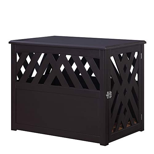 unipaws Pet Crate End Table with Pet Bed, Wooden Dog Kennels with MDF Material, Medium Slide Aside Crate Indoor Use, Modern Design Dog House, Espresso