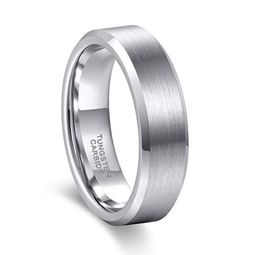 4mm 6mm 8mm Tungsten Ring for Men Women Beveled Edge Matte Silver Wedding Band (6mm, 6)