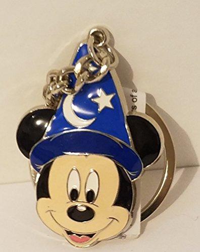Disney Parks Sorcerer Mickey Mouse Face Keyring Metal Keychain