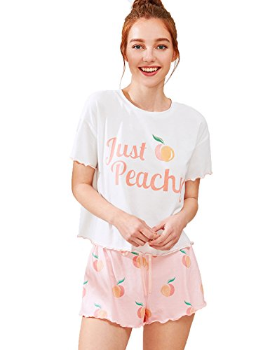 (Milumia Women's Peach Fruit Print Lettuce Edge Tee and Shorts Pajama Sets A-Pink Small)