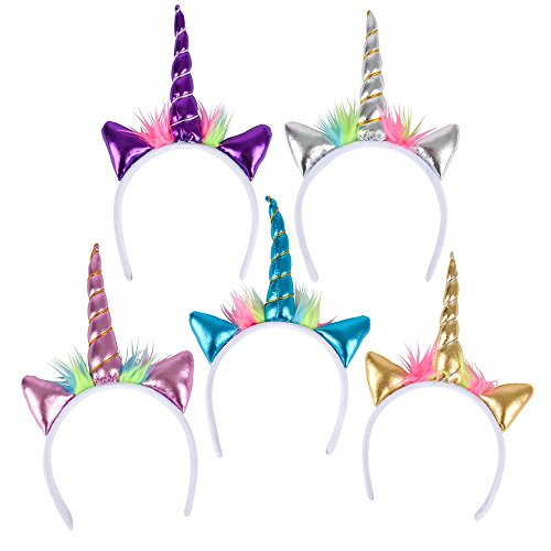 Booboolala Colorful Unicorn Headband - Party Favor - Popular Gift Idea - Great Prize - Assorted Metallic Colors - This is For (1) Headband for That Someone Special! -