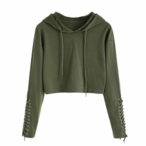 FDelinK Clearance Women Teen Girls Hoodie Sweatshirt Jumper Sweater Crop Sports Pullover Tops (Army Green, XL) ()