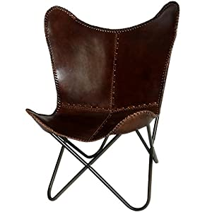 Butterfly Chair Brown Leather Butterfly Chairs - Handmade with Powder Coated Steel Frame