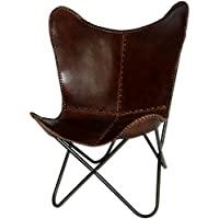 Butterfly Chair Handmade Brown Leather Butterfly Chairs with Powder Coated Steel Frame