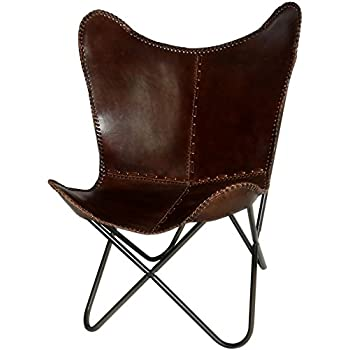Butterfly Chair Brown Leather Butterfly Chairs   Handmade With Powder  Coated Steel Frame