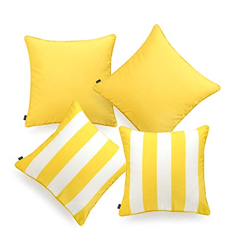 (Hofdeco Indoor Outdoor Pillow Cover ONLY, Water Resistant for Patio Lounge Sofa, Yellow White Solid Stripes, 18