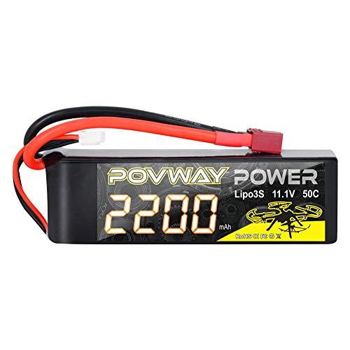 3S 2200mAh LiPo Battery POVWAY 11.1 V 50C RC Battery with T Plug Compatible RC Airplane, RC Helicopter,Drone ect.