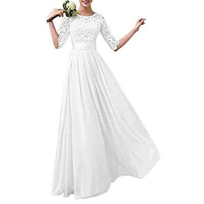 Women Crochet Half Sleeve Lace Top Chiffon Wedding Bridesmaid Gown Prom Dress