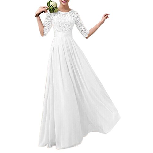 Dress Chiffon Skirt Prom Full (Kalin L Women Crochet Half Sleeve Lace Top Chiffon Wedding Bridesmaid Gown Prom Dress, White, Small)