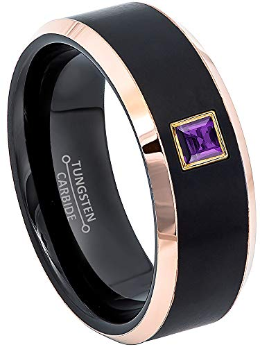 0.10ctw Solitaire Princess Cut Amethyst Tungsten Ring - 8MM Brushed 2-Tone Rose Gold Tungsten Carbide Wedding Band - February Birthstone Ring - s7.5 ()