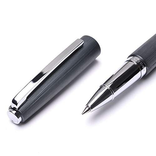 KACO BALANCE Gray Aluminum Rollerball Pen, Fine Point Black Ink High-end Metal Wire-drawing Pens, Office Business Gift Pen by Asvine (Image #3)