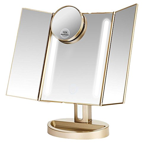 LEJU Makeup Mirror / Natural Daylight Lighted Vanity Mirror with Touch Screen Dimming, Detachable 10X Magnification Spot Mirror, Two Power Supply Mode (Gold) (Stores That Sell Mirrors)