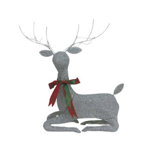 Celebrations 53112-71 Glitter Laying Deer, Silver, 36''