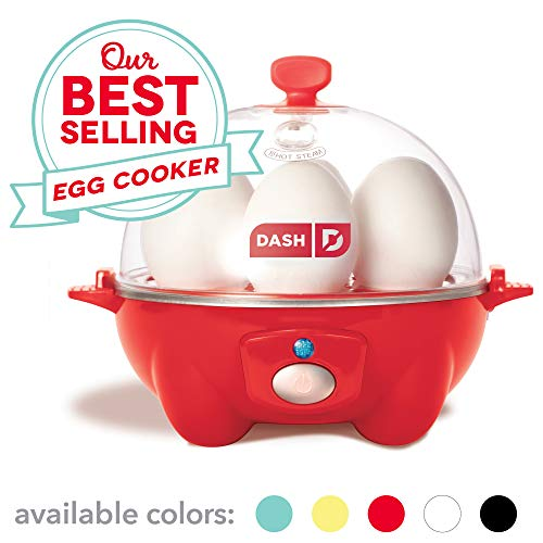 (Dash Rapid Egg Cooker: 6 Egg Capacity Electric Egg Cooker for Hard Boiled Eggs, Poached Eggs, Scrambled Eggs, or Omelets with Auto Shut Off Feature - Red)