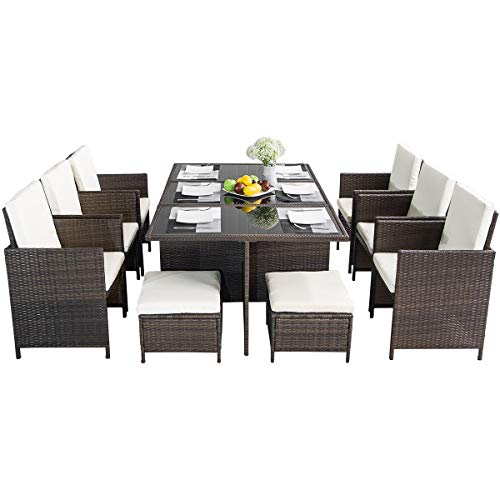 Leisure Zone 11 Piece Patio Furniture Dining Set Outdoor Garden Wicker Rattan Dining Table Chairs Conversation Set with Cushions (Brown)