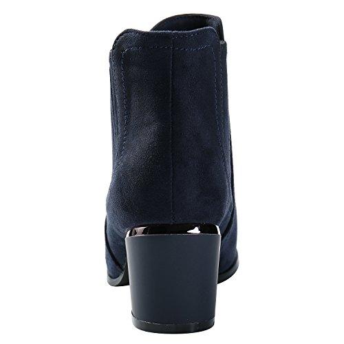 Alexis Leroy Women's Winter Round Toe Heeled Chelsea Ankle Boots Dark Blue 9k6vQ
