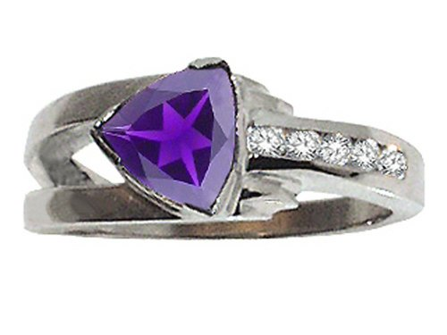 Tommaso Design Trillion 7mm Genuine Iolite Ring 14 kt White Gold Size 9 ()
