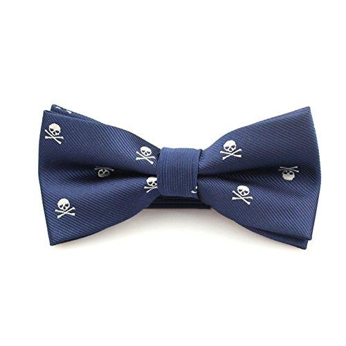 ruiycltd Banquet Party Men Suit Skull Bow Tie Fashion Tuxedo Neckwear for Wedding Groom - Navy Blue