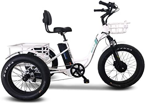 Emojo Caddy Pro Electric Tricycle 48V 500W Best Electric Trike with Hydraulic Brakes 7 Speed Transmission 24 Inch Fat Tire 3 Wheel Ebike Electric Bike Lithium Battery Rear Basket Cargo