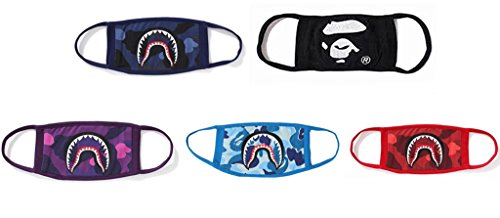 Xshelley 5-pack 4 Shark Face Mask and 1 bape Face Mask,cotty mask funny Anti-dust Face mask,Ski Cycling Camping Half Face Mouth Masks