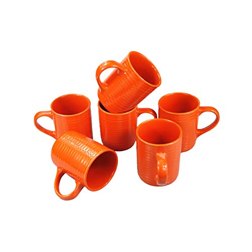 Ceramic Cup Coffee Mug Large Handle Tea Cup Set of 6 for Office and Home Perfect Gift,Maximum Capacity 12oz (Orange)