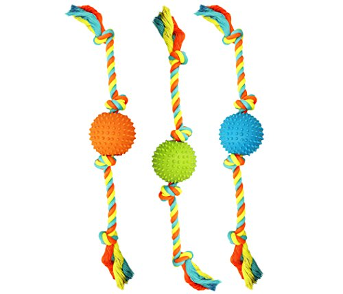 Cheap Boss Pet Chomper Extra Tough & Colorful 19″ Rope with TPR Spike Ball Dog Toy – Medium Size Dog Toy, Multi