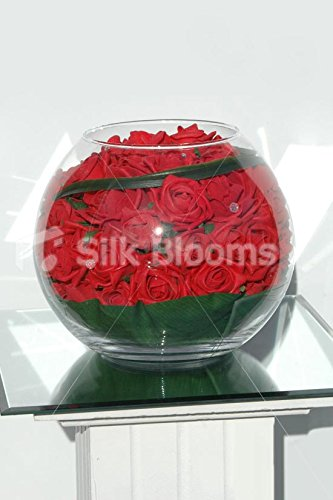 Artificial de color rojo jarrón redondo rosas de espuma y pecera pantalla
