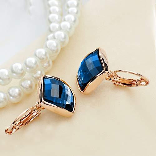 Dangle Earrings For Women Stainless Steel 14K Rose Gold Plated Earring Cubic Zirconia Leverback Hypoallergenic Drop Earring Blue