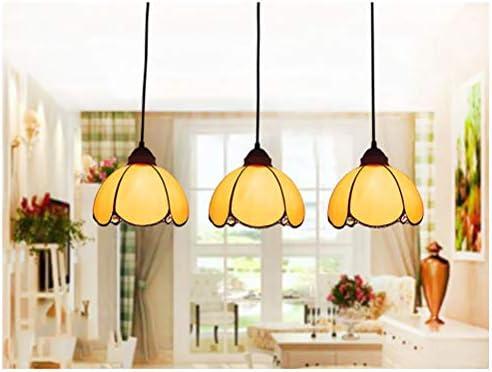 LYEJFF Tiffany Style Pendant Light Fixture Modern Yellow Baked Bend Glass Chandelier Lighting Restaurant Dining Room Bar Art 3-arm Hanging Light Ceiling Lamp, E27-black-B