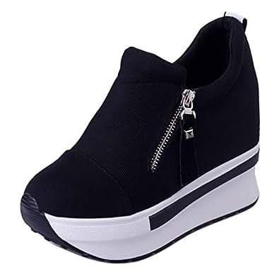 RAZAMAZA Women Fashion Platform Shoes Low Top Wedge Heel Sneakers Pumps Thick Sole Walking Shoes Zipper Black Size 35 Asian