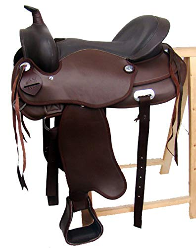 A&M Reitsport Omaha Treeless Western Saddle Black Artificial Leather 17 Inches