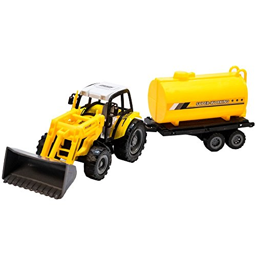 TukTek Kids First Toy Construction Loader Tractor and Trailer Friction Push Farm Tuck for Boys & Girls