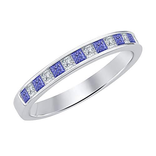 (Princess Cut Tanzanite & Diamond .925 Sterling Silver Engagement Wedding Band Ring for Women's)