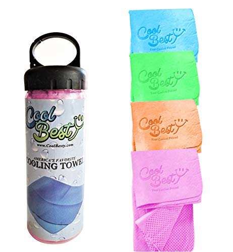 Chilly Pad Sports Towel - Cool Besty Cooling Towel Chilly Pad Instant Cooling Snap Towel - Best for Any Sport Activities - Hot Flashes - Fever - Premium Quality - Perfect Fitness/Workout for Athletes - Pink