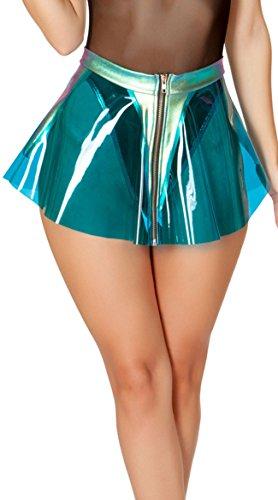 (J. Valentine Blue Clear Vinyl Skirt with Holo Denim Trim)
