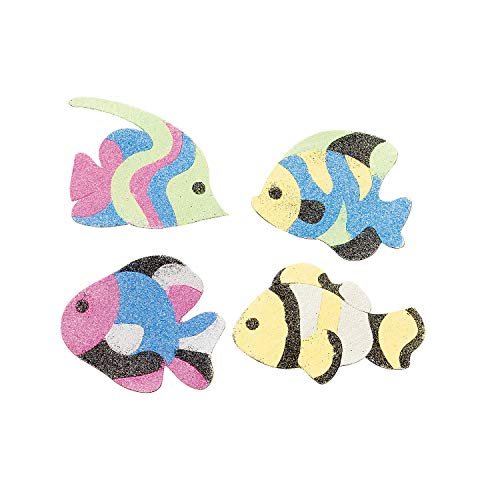 Fun Express Fish Sand Art Magnet Craft Kit (Makes 12) Includes Colorful Sand