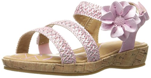 Price comparison product image BOC Kids Emily PNK Metallic/Cork Wrap Wedge Sandal (Toddler/Little Kid), Pink, 11 M US Little Kid