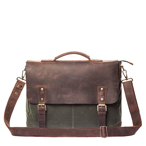 Vintage Handmade Waxed Canvas & Leather Messenger Bag - Mens Business Briefcase - Fits Laptops Up to 15 inch - Waterproof & Lightweight Everyday Satchel - Brown