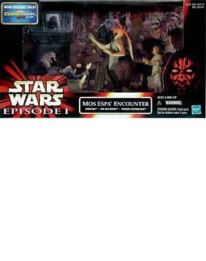 Star Wars Episode 1 The Phantom Menace Movie Scene Action Figure Playset - Mos Espa Encounter with Sebulba, Jar Jar Binks and Anakin Skywalker Figure Plus CommTech Chip and Display Base